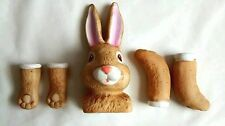 Bisque Porcelain Brown Bunny Rabbit Doll Kit Head Plus 4 Paws