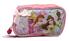 Disney Princess Pink Pencil Holder Pouch Bag Pens School Carrying Case Bow Ariel