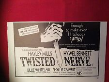 m12p ephemera 1969 film advert twisted nerve hayley mills hywel bennett