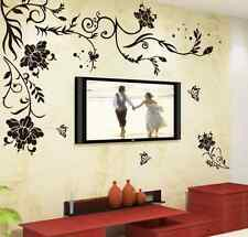 Removable Elegant Black Vines Wall Stickers Wallpaper For Home Room Mural Decor