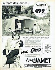 PUBLICITE ADVERTISING 076  1962  la tente a armature camping André Jamet
