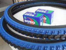 "26x1.95 Black Blue Bicycle Knobby Tires + Tubes Mountain Bike 26"" NEW 26x1.95"