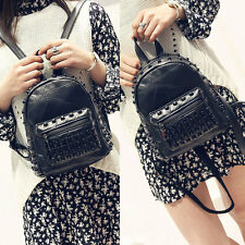 Punk Studded Rivet Schoolbag Women Travel Backpack Shoulder Bag Black Pu Leather