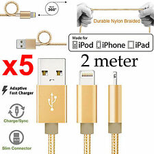 5 2m Apple iPhone 6 7 SE iPad Air Pro braided Strong Fast data charger usb cable