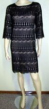 Jessica Howard NWT Size 14 Black Crochet Lace Overlay Sheath Dress 7025