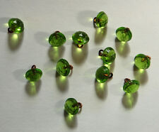 VINTAGE TINY APPLE GREEN FACETED GLASS DOLL BUTTON BUTTONS BEADS 7mm