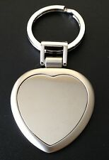 Large Heart Key Chain, High Polished and Brushed Chrome, Engraved Free, New