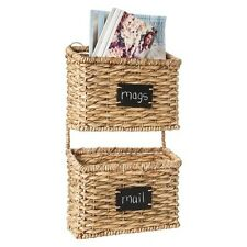 Smith & Hawken Wall Organizer Decorative Basket Set of 2 with Chalkboard Labels