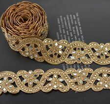 Hand Beaded Dress Bridal Border 9 YD Trim Ribbon Golden Craft COLLECTIBLE EDH