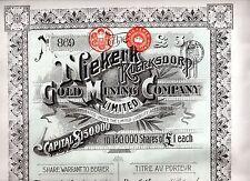 Action au porteur Niekerk Gold Mining Company - 1895