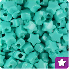 250 Light Turquoise Opaque 13mm Star Pony Beads Plastic Made in the USA