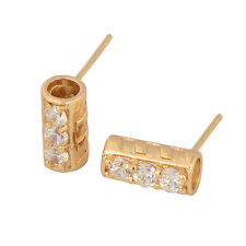 3-Stone Yellow Gold Filled Cubic Zirconia Stud Earrings 11*5mm Cylinder Shape