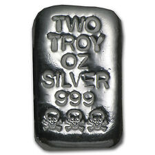 2 oz Skull & Bones Silver Bar - Atlantis Mint - SKU #82444