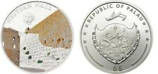 2012 Palau Large  Proof Color Silver $5 Western(Whaling) Wall Jerusalem