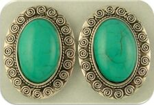 Beads Faux Turquoise Oval Cabochons Swirl Pattern Frame ~ 2 Hole Sliders QTY 2