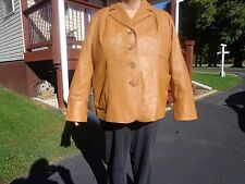 leather coat jacket for ladies size 3XL nice shape spring Maggie Barne brown