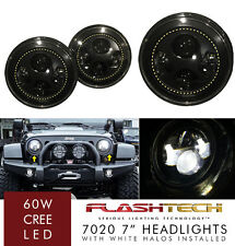 LED 7 Inch Round WHITE HALO Projector Headlights Low/High H6024 H6012 (Pair)