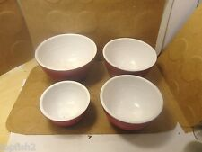 """Nested Melamine Bowls, 4 7/8"""" Down To 3 1/4"""", Red w/White, 4 Count (Used/EUC)"""