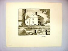 1930-40's C.Palmer Ink & Wash Painting of a Colonial Salt Box House, New England