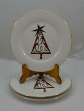 """Gold Trim Porcelain Salad Plate 3 Christmas Tree 7-5/8"""" Pier 1 red green white"""