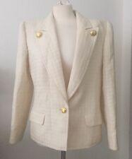 Valentino Miss V Creme Window Pane Textured Blazer W/ Logo Buttons SZ 46 Italy