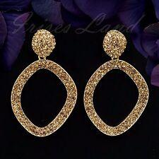 18K Gold Plated GP Topaz Crystal Rhinestone Drop Dangle Hoop Earrings 00098 New