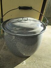Vintage Large Gray Graniteware Stock Pot Canning Soup Chili Enamelware Speckled