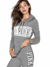 VICTORIAS SECRET PINK PERFECT PULLOVER HOODIE CLAY GREY SIZE L NIP