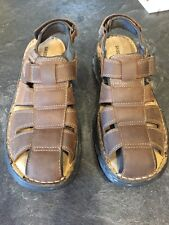 Men's Skechers Brown Leather Sandals Shoes Size 10