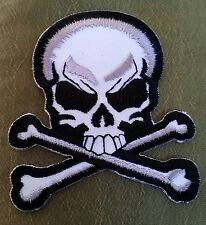 """SKULL & CROSS BONES "" Embroidered JACKET PATCH MOTORCYCLE BIKER ROCKABILLY HOG"