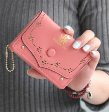 Cute Women's Trifold Leather Button Wallet Lady Pink Short Handbag Clutch Purse