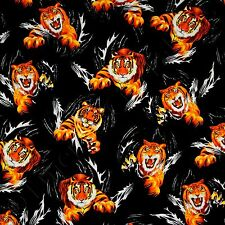 Timeless Treasures Realistic Tigers Black Kids Quilting Quilt Fabric by the Yard