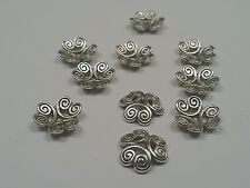 10 Antique Silver Tibetan Silver Bead Caps, 13x3.5mm, Hole 2mm