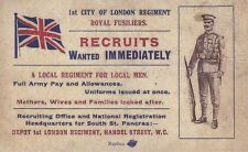 World War I Recruitment Card Recruits Wanted Immediately! 1st London Regiment