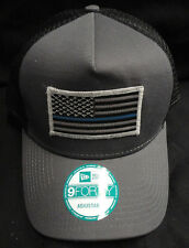 New Era Grey/Black Mesh Snapback Hat/Cap With American Flag Thin Blue Line Patch