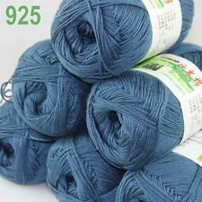 Sale New 6X50g balls Fingering  Soft Bamboo Cotton Hand Knitting Yarn Steel 925