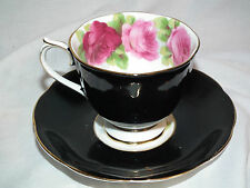 VINTAGE ROYAL ALBERT ENGLISH ROSE BONE CHINA BLACK TEA CUP & SAUCER ENGLAND