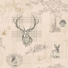RICHMOND HIGHLAND STAG WALLPAPER CHARCOAL CREAM (98012) HOLDEN DECOR NEW