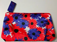 ESTEE LAUDER Red Blue FLOWER SILKY Cosmetic Bag Purse Travel Case Makeup NeW