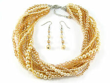 7a Business Casual Style Faux Golden Pearl Twist Necklace Set Gift Boxed