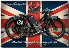 LARGE A3 SIZE SCOTT MOTORCYCLE ENAMELLED METAL SIGN.VINTAGE BRITISH MOTORCYCLE.