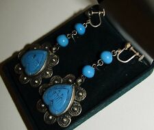 SCARCE, LONG, ANTIQUE, PERSIAN, STERLING SILVER ORNATE EARRINGS WITH TURQUOISE