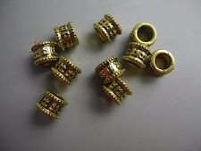 10 PC golden color metal buddhism six words mantra dreadlock beads 7mm hole