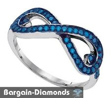 blue diamond .30 carat white 925 ring Infinity Weave journey love promise