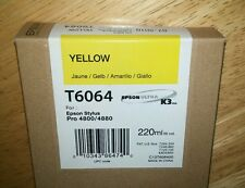 03-2013 GENUINE EPSON T6064 YELLOW 220ml K3 INK STYLUS PRO 4800 4880