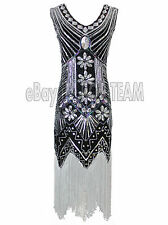 Vintage 1920s Flapper Fancy Costume Gatsby Charleston Fringe dress Size 2-16 UK