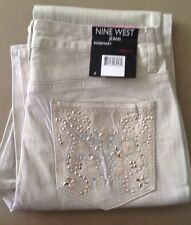 NWT Womens NINE WEST JEANS Rosemary Bling Creamstone Straight  Fit Jeans Sz 6