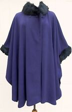 YOURS Purple Fleece Faux Fur Trim Cape OSFA