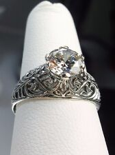 1.5ct White Gemstone Sterling Silver Wedding Art Deco Filigree Ring Size: 5
