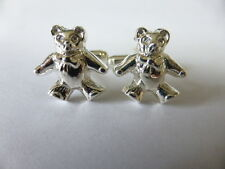 sterling silver teddy bear cufflinks UK MADE AND HALLMARKED